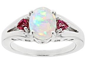 Multicolor Ethiopian Opal Rhodium Over Silver 3-Stone Ring 1.05ctw