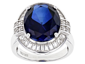 Blue Sapphire Rhodium Over Sterling Silver Ring 10.33ctw