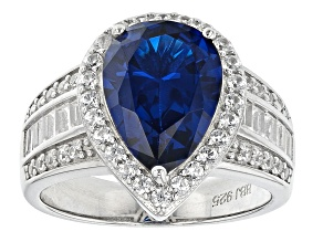 Lab Created Blue Spinel Rhodium Over Sterling Silver Ring 5.25ctw