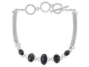 Blue Pietersite Rhodium Over Sterling Silver Bracelet