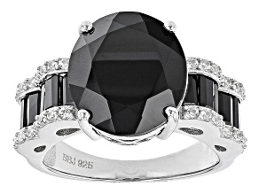 Black Spinel Rhodium Over Sterling Silver Ring 8.10ctw