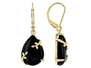 Black spinel 18K Yellow Gold Over Sterling Silver Earrings