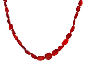 Red Ethiopian Opal Rhodium Over Sterling Silver Bead Necklace