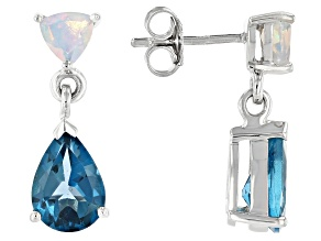 London Blue Topaz Rhodium Over Sterling Silver Dangle Earrings 4.43ctw