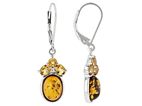Amber Rhodium Over Silver Leverback Earrings 1.90ctw