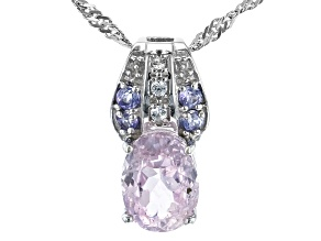 Pink Kunzite Rhodium OverSilver Pendant With Chain 2.25ctw