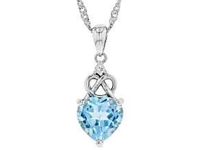 Blue topaz Rhodium Over Sterling Silver Pendant With Chain 2.63ctw