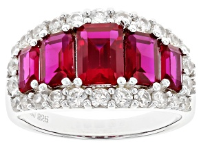 Lab Created Ruby and White Zircon Rhodium Over Sterling Silver Ring 4.04ctw