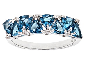 Blue Topaz Rhodium Over Sterling Silver Ring 2.36ctw