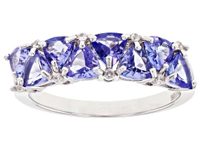 Blue Tanzanite  Rhodium Over Sterling Silver Ring 1.98ctw
