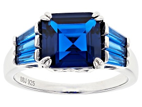 Lab Created Blue Spinel Rhodium Over Silver Ring 4.24ctw