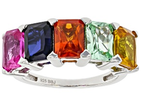 Multicolor Lab Created Sapphire Rhodium Over Silver Band Ring 5.50ctw