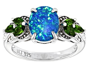 Oval Lab Created Opal Rhodium Over Sterling Silver Ring 1.18ctw