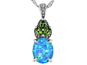 Oval Lab Created Opal Rhodium Over Silver Pendant With Chain 0.92ctw