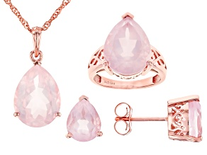 Pink Rose Quartz 18K Gold Over Silver Ring, Earrings And Pendant With Chain Set 17.85ctw