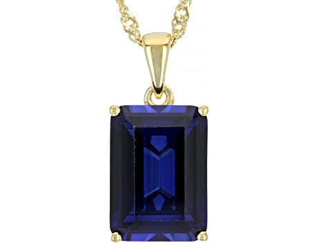 Lab Created Blue Sapphire 18k Yellow Gold Over Silver Pendant With Chain 9.28ct