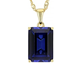 Blue Lab Created Sapphire 18k Yellow Gold Over Silver Pendant With Chain 9.28ct