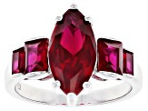 Marquuise and Baguette Red Lab Created Ruby Rhodium Over Sterling Silver Ring 2.87ctw
