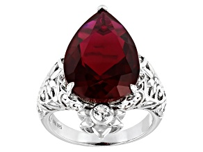 Red Lab Created Ruby Rhodium Over Sterling Silver Ring 11.56ctw
