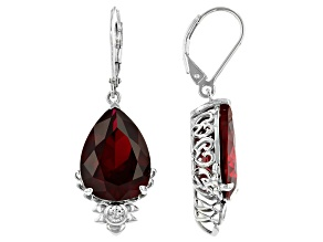 Red Lab Created Ruby Rhodium Over Silver Dangle Earrings 18.07ctw