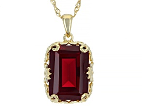 Lab Created Ruby 18k Yellow Gold Over Silver Pendant With Chain 14.45ct