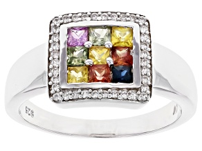 Multi Color Sapphire Rhodium Over Sterling Silver Ring 1.29ctw