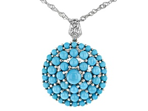 Blue Sleeping Beauty Turquoise Rhodium Over Sterling Silver Pendant With Chain