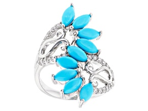 Blue Sleeping Beauty Turquoise Rhodium Over Sterling Silver Ring 0.32ctw