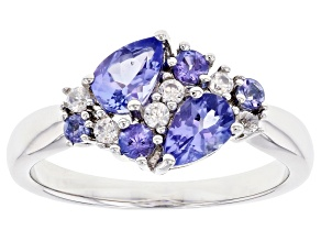 Blue Tanzanite Rhodium Over Sterling Silver Ring 1.02ctw
