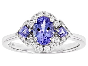 Blue Tanzanite Rhodium Over Sterling Silver Ring 1.14ctw