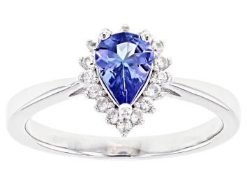 Picture of Blue Tanzanite Rhodium Over Sterling Silver Ring 0.69ctw