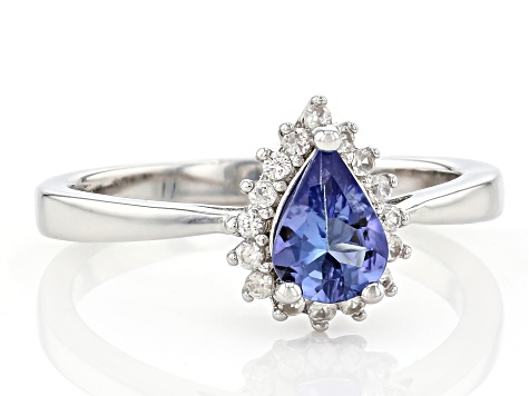 Blue Tanzanite Rhodium Over Sterling Silver Ring 0.69ctw