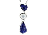 Fancy Shape Lapis Lazuli Rhodium Over Silver Pendant With Chain