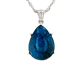 Blue Apatite Rhodium Over Sterling Silver Solitare Pendant with Chain