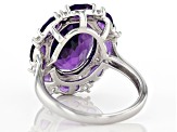 Purple Amethyst Rhodium Over Sterling Silver Ring 6.27ctw