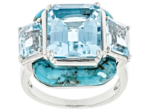 Blue Topaz Rhodium Over Sterling Silver Ring 8.42ctw