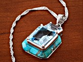 Blue Topaz Rhodium Over Sterling Silver Pendant With Chain 7.40ctw