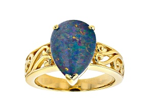 Multicolor Australian Opal Triplet 18k Yellow Gold Over Sterling  Silver Ring
