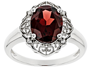 Red Garnet Rhodium Over Sterling Silver Halo Ring 2.37ctw