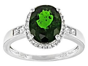 Green Chrome Dioside Rhodium Over Sterling Silver Halo Ring 2.33ctw