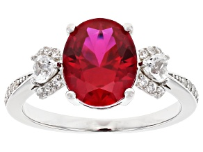 Red Lab Created Ruby Rhodium Over Silver Ring 2.95ctw