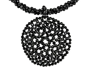 Black Spinel Rhodium Over Sterling Silver Woven Lace Necklace 75.00ctw