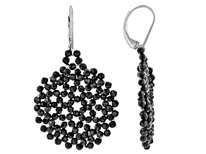 Black Spinel Rhodium Over Sterling Silver Woven Lace Earrings 18.00ctw