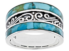 Blue Turquoise Rhodium Over Sterling Silver Band Ring