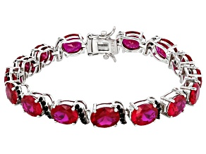 Red Lab Created Ruby With Round Black Spinel Rhodium Over Sterling Silver Bracelet