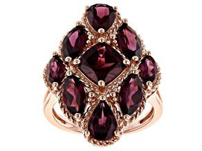 Raspberry Color Rhodolite 18K Rose Gold Over Sterling Silver Ring 6.40ctw