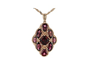 Raspberry Color Rhodolite 18K Rose Gold Over  Silver Pendant With Chain 6.17ctw