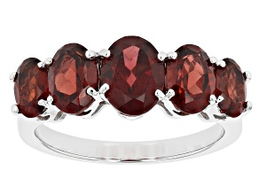 Red Garnet Rhodium Over Sterling Silver 5-Stone Ring 4.50ctw