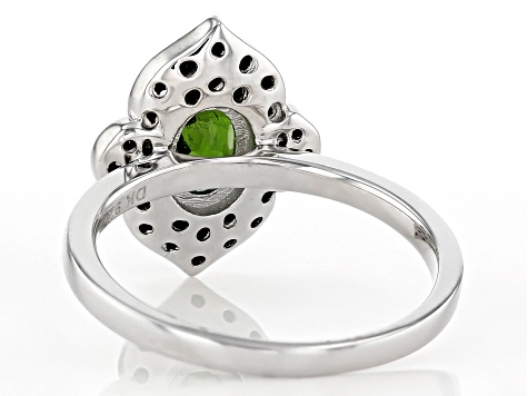 Green Chrome Diopside Rhodium Over Sterling Silver Ring 1.14ctw