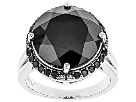 Black Spinel Rhodium Over Sterling Silver Ring 9.58ctw